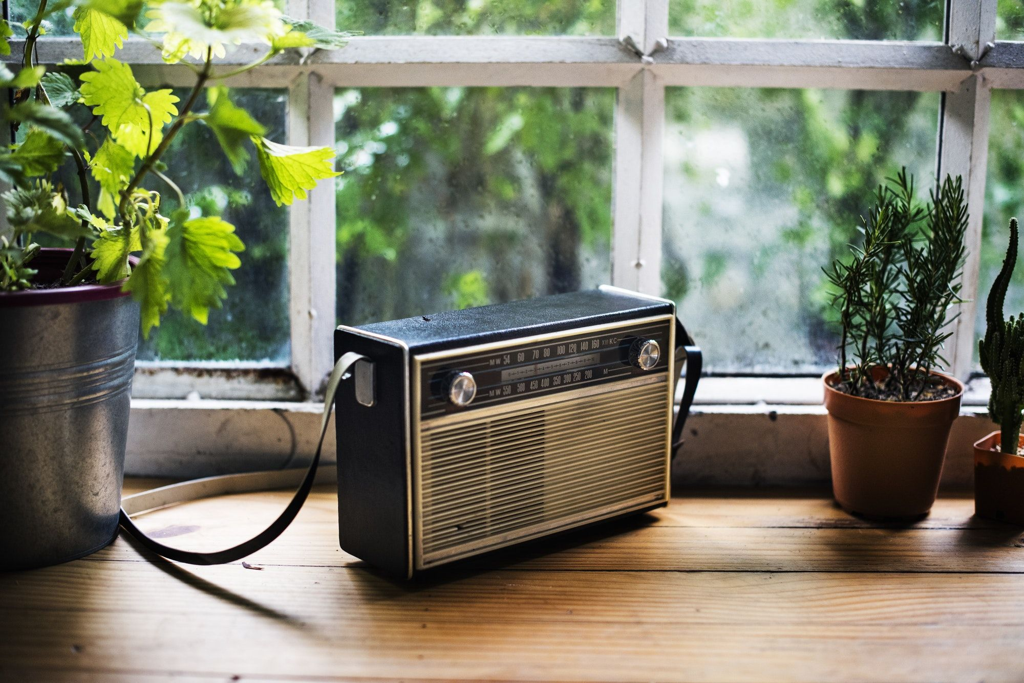 Closeup of vintage radio on wooden table